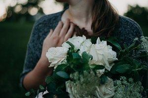 Garden Rose Bouquet Sunset