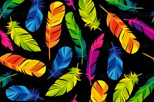 Colorful seamless patterns feathers.