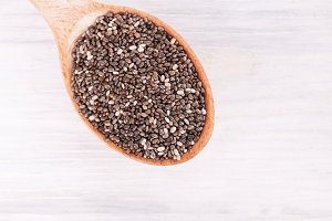 chia seeds in wood spoon