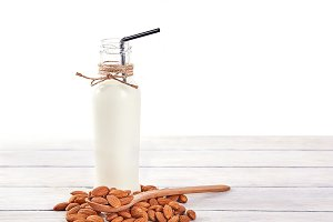 Almond milk close up with space for