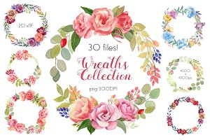 Watercolor Wreaths Collection (Set)