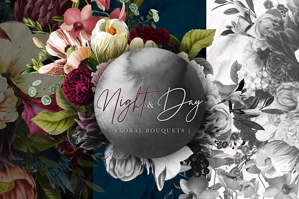 Illustrations and Illustration Products: Eclectic Anthology - Night and Day Floral Bouquets