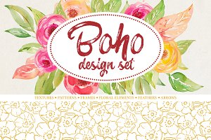 Boho watercolor set