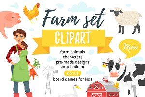 Farm clipart set
