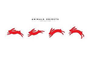 Set of rabbit illustration.