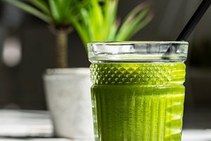 Green juice glass