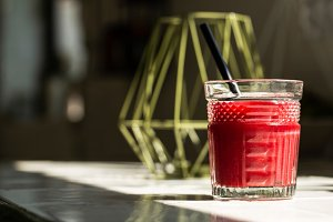 Red juice glass