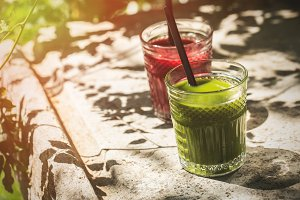 Red and green juice glass