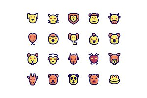 Animal Face Filled Line Icons