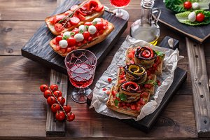 Assorted bruschettas with tomatoes