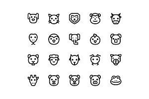 Animal Face Line Icons
