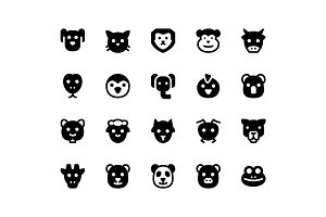 Animal Face Glyph Icons
