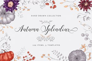 Autumn Splendour - hand drawn set
