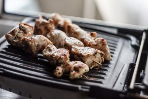 Pork-beef shish kebab prepared on a