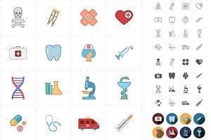 16 flat medicine icons