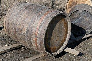 old oak barrels for wine