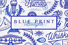Blue Print Badges by  in Logos