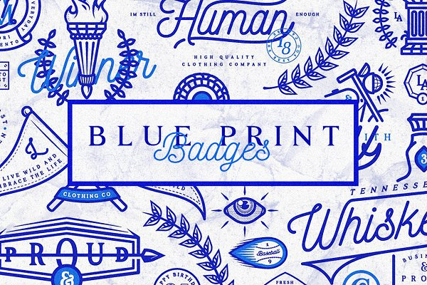 Logo Templates - Blue Print Badges