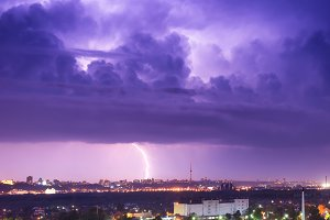 Storm with lightning in the city