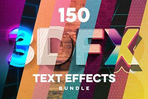 150 3D Text Effects for Photoshop