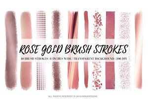 Rose Gold Brush Strokes Clipart