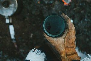 Campfire Coffee held by Cowboy