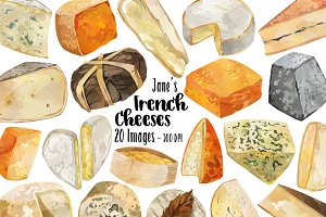 Watercolor French Cheese Clipart
