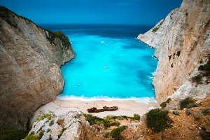 Shipwreck in Navagio beach. Azure