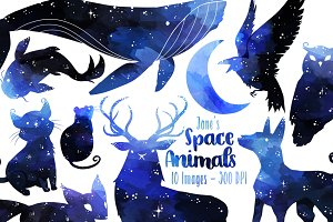 Watercolor Space Animal Clipart