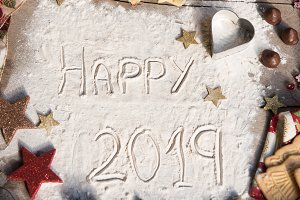 Happy 2019 text made with flour