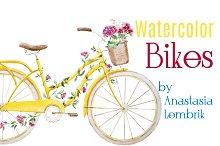 Watercolor vector bikes