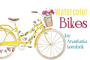 Watercolor vector bikes