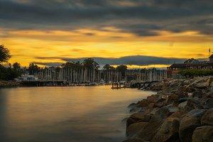 Sunrise above Santa Cruz harbor