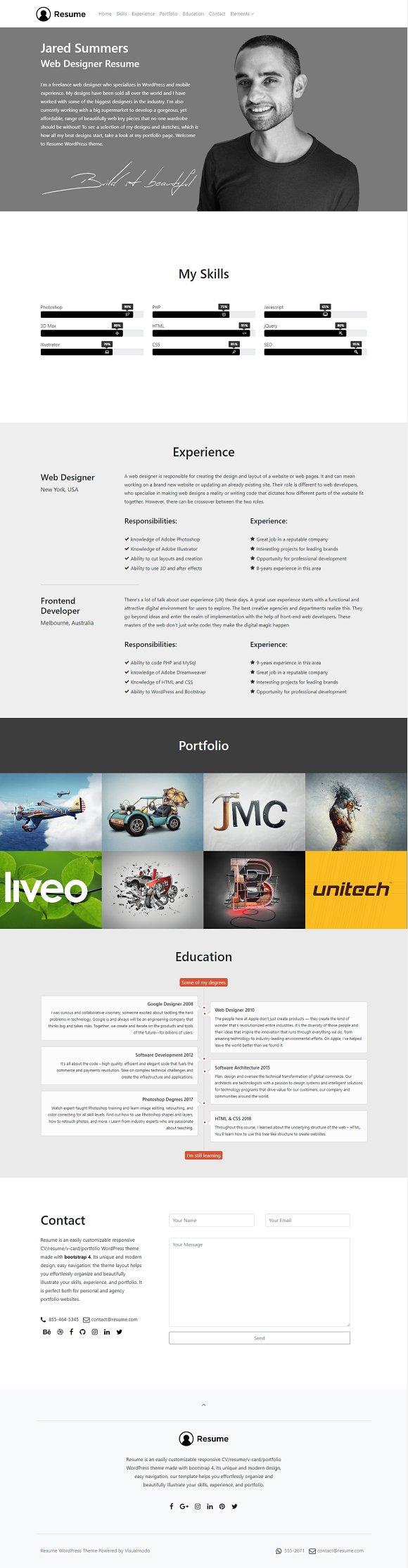resume wordpress theme wordpress business themes creative market