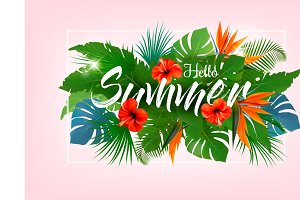 Summer tropical holiday background w