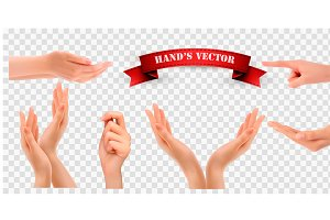 Set of hands. Vector