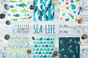 Sea Life, 6 seamless patterns