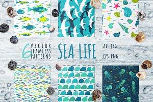 Sea Life, 6 seamless patterns