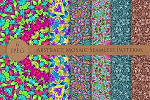 ABSTRACT mosaic seamless pattern set