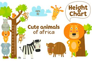 Cute animals of Africa. Vector set