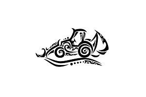 Backhoe Tribal Tattoo