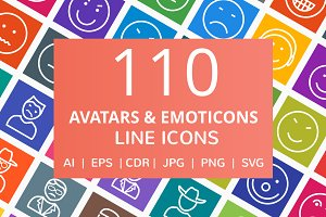110 Avatars & Emoticons Line Icons