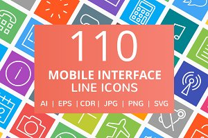 110 Mobile Interface Line Icons