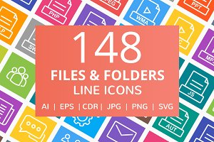 148 Files & Folders Line Icons