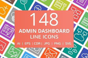 148 Admin Dashboard Line Icons