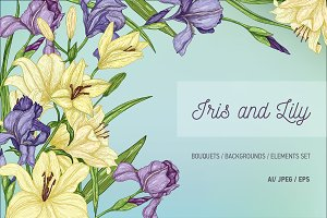 Set of lilies and irises