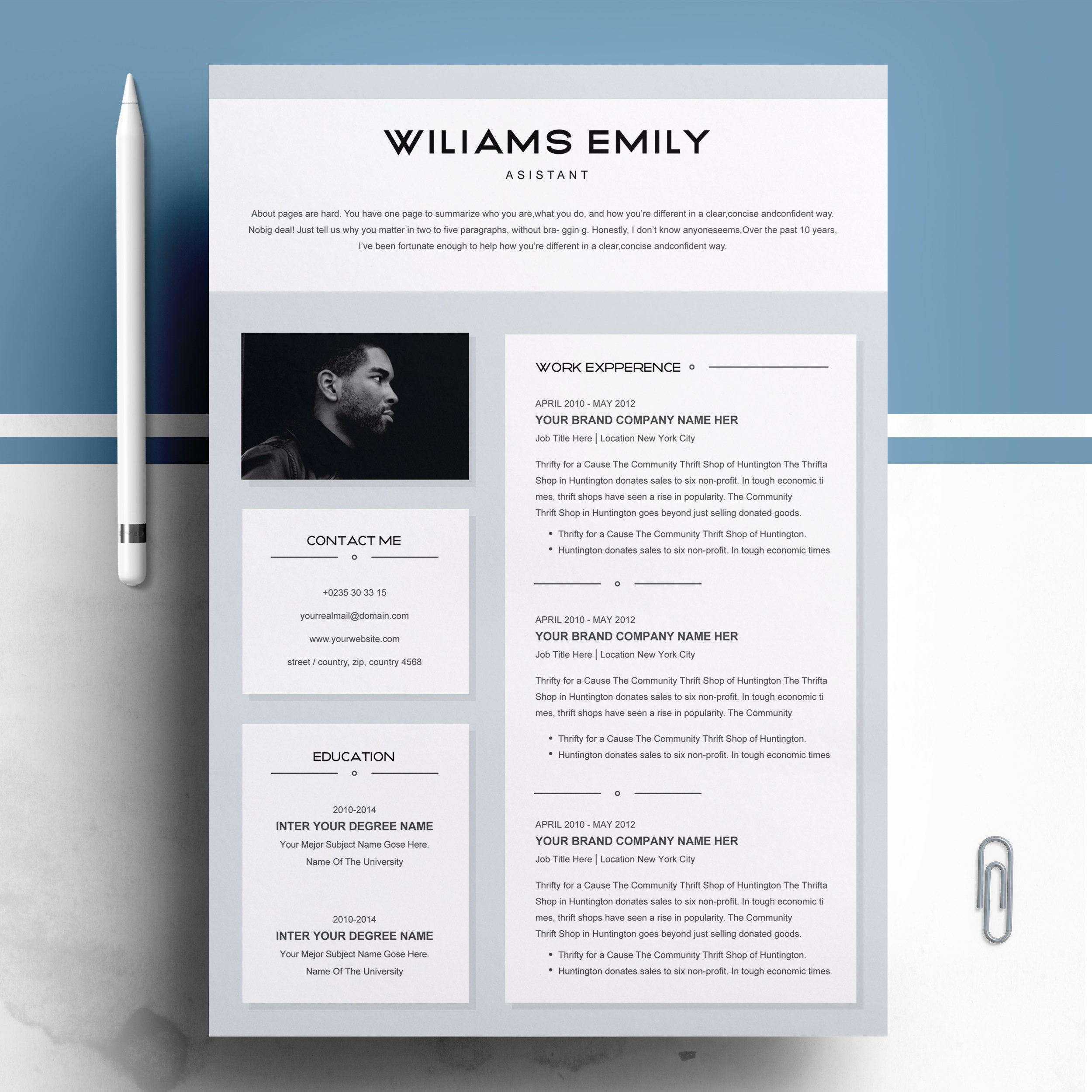 Resume Template 2 Pages For Ms Word Resume Templates Creative Market