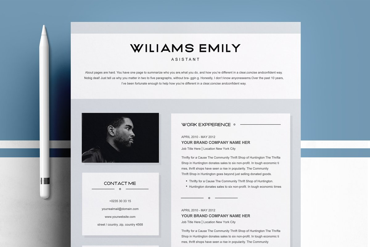 Resume Template 2 pages for MS Word ~ Resume Templates ~ Creative Market