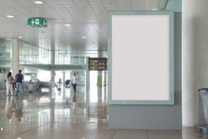 Blank billboard mock up in an airpor