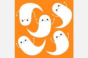 Flying ghost spirit set. Halloween